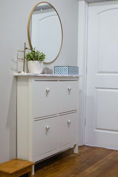 Ikea Hemnes shoe cabinet hack marble contact paper and new knobs - The Home I Create