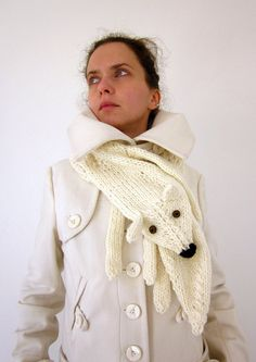 Hand knit fox scarf in white with polymer clay buttons by AmeBa77, $68.00