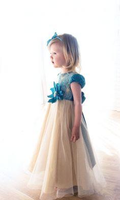 Sukieneczka dziecięca okazionalna turkus i złoto