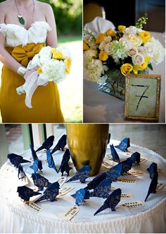 Fun escort cards and color palette - navy and mustard yellow.