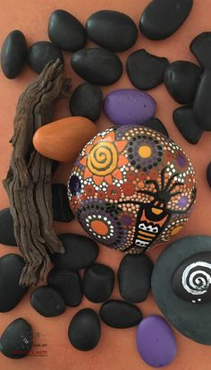 Rock Art - Petroglyph Inspired Design - Cave Man Art - Stone Art - Natural Home Decor - Hand Painted Stone - yellow shades of orange collection #36 - $34 - FREE Shipping! ethereal & earth - otherworldly & of this world creations!