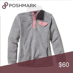 ISO Patagonia Fleece Pullover! Patagonia Girls' Re-Tool Snap-T Fleece Pullover Color: Tailored Grey Nickel X Dye w/ Feather Pink Patagonia Sweaters