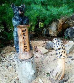 Welcome bear and mushroom chainsaw carved