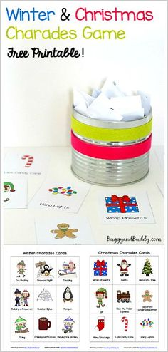 Winter and Christmas Charades Game for Kids- Free Printable! Perfect for a classroom Christmas party or family game night. Such fun way to get kids moving and using their imagination! ~ BuggyandBuddy.com