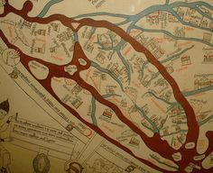 The Hereford Mappa Mundi is a world map dating to ca. 1300, derived from the T and O maps and the largest known medieval map. Detail showing the British Isles