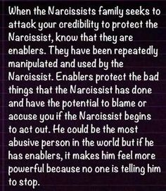 The Narcissists can be anyone in a family (parent, spouse, sibling), a friend or a coworker who treats others abusively. Don't Enable them.