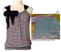 25 Inspirational Ideas for Transforming Your Old Shirts - CretíqueIf you're anything like us, you'll know that there's really no such thing as waste – just bits and. The post 25 Inspirational Ideas for Transforming Your Old Shirts appeared f Diy Clothes Refashion, Shirt Refashion, T Shirt Diy, Diy Tshirt Ideas, Sewing Shirts, Sewing Clothes, Remake Clothes, Clothing Patterns, Sewing Patterns