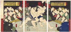 Sakaigawa Wrestling with Koyanagi by Kuniteru / 境川・小柳取組図 国輝