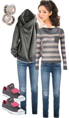 """comfy clothes for winter gray and pink"" by candis82 on Polyvore"