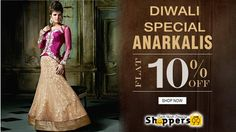 UPTO 10% OFF On #Diwali Special #Designer #AnarkaliSuits. Pay Online & Save More. Shop Now: http://www.shoppers99.com