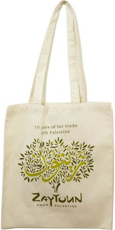 Zaytoun Jute Bags. Zaytoun is a non-profit company established to support marginalised farming communities in Palestine through the production of olive oil and other olive products.