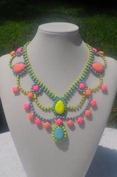 hand painted neon vintage rhinestone necklace