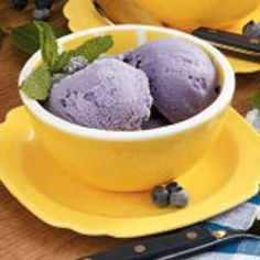 Yummy treat to make after blueberry picking: Blueberry ice cream.  I've made this recipe (1/2 recipe) a few times and it's tasty.