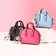 Milesi - Brand Luxury Genuine Leather Keychain Key chain with Mini Shell Bag Coin Purse Novelty Wedding Gift Women bag pendant