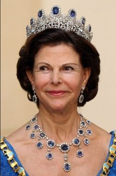 The Queen of Sweden in the Leuchtenberg Sapphire Parure Tiara.