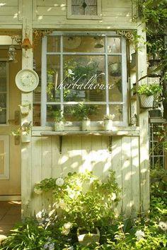 ファサード Garden shed - herbs + more! Outdoor Spaces, Outdoor Living, Outdoor Decor, Herb Shop, She Sheds, Rustic Gardens, Garden Structures, Green Life, Windows And Doors