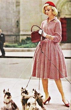 Vintage Vogue with Mini Schnauzers love love love this.  BTW, this is so me when I'm walking my three mini schnauzers - LOL!