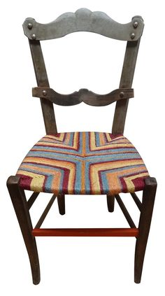 French antique chair with Sky blue, orange and cherry red havoc design by Rustiquechairs