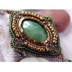 """Necklace with jade  Кулон с нефритом  #мастерская_син #sinbead #sinbeadjewelry #jewelry #necklace #jade #beads #handmade #украшения #ручнаяработа #кулон…"""