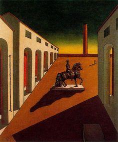 Italian plaza with equestrian statue - Giorgio de Chirico