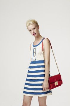 Orla Kiely blue and white striped silk shift dress - Size UK 10 - 60s mod