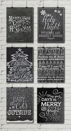 12 Free Christmas Chalkboard Printables •Little Gold Pixel
