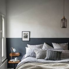 Gray & Willow Electra Electroplate Glass Pendant - House of Fraser Bedroom Wall Colors, Bedroom Color Schemes, Casa Gaudi, Half Painted Walls, Half Walls, Home Bedroom, Bedroom Decor, Bedrooms, Painted Headboard