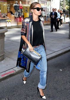 Nicole Richie looking cool in a silk Givenchy jacket, baggy boyfriend jeans and b&w Yves Saint Laurent pumps