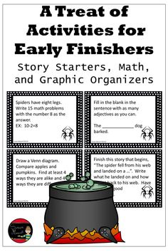 Here's a great  Halloween way to keep all your students engaged even as they finish their work early!  The task card activities can be used for more than just early finishers; bell ringers, morning work, activity warm up.  #halloweenactivities #taskcards #earlyfinishactivities #earlyfinishtaskcards #halloween