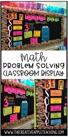 Create an interactive math bulletin board to use in your classroom! 这个 board includes problem solving strategies and a math key terms area where students can interact.  All you have to do is choose your favorite color paper, print, cut, and place on your board or wall.