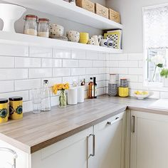 Image result for subway tiles with wood shelves
