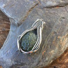 Moldavite Wire Wrap  Wire Wrapped Pendant  Heady Wire Wrap