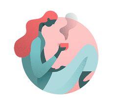 Character illustration, simple vector, tea, coffee, circle, girl, figure