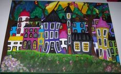 I Wish . Whimsical Houses at Night. by BeesDesigns for $39.22