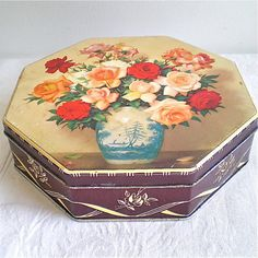 Roses Vintage Tin Flowers Box Sewing Tin by dottirosestudio, $16.00