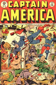 """Captain America stars in """"Dynamos of Death"""" (art by Vince Alascia), """"The Thing in the Swamp,"""" and """"The Human Beast!"""""""