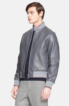 Men's Thom Browne Leather Baseball Jacket