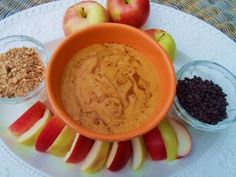 """Pumpkin Pie Dip with """"Autumn Leaf"""" Apples (Vegan) (& variety of """"dip-again"""" toppings. Perfect Fall party platter or after-school snack for kids. Made with coconut milk & pumpkin. Tastes just like pumpkin pie! (Vegan, dairy-free)"""