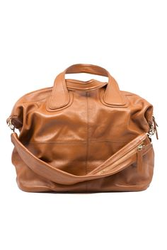 "Dimensions: Measures 20"" x 15"" x 8"".  Details: Genuine leather. Two slip pockets. Inner zip pocket. Removable shoulder strap."