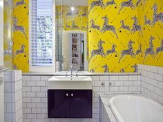 love this @kate spade new york scalamandré zebra wallpaper in yellow. amazing. via @Nicole Balch for @Babble