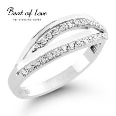 Beat of Love silver ring with cubic zirconia