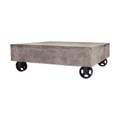 Concrete Coffee Table Black Iron Weels Elk 157 025  INDUSTRIAL WEATHERED AND WAXED CONCRETE BLOCK COFFEE TABLE WITH SILHOUETTED WHEELS  The Jigger series Coffee Table combines the Vintage Industrial look of a Machine Age pump trolley with the modern sense for brutish concrete shapes and chic urban surfaces. Features authentically silhouetted wheels and a smooth Waxed finish. Perfect for today s cutting edge design space. Pair this one with crystal tea lights and a freshly potted agave.