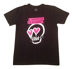 5 Seconds of Summer 5SOS Heart Skull T-shirt Large Black. Officially Licensed. 100% Cotton. Machine Wash.