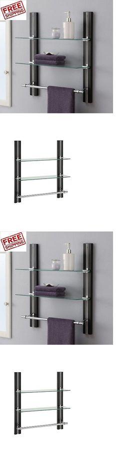 shelves bathroom wall shelf 2 tier glass towel bar adjustable organizer rack caddy