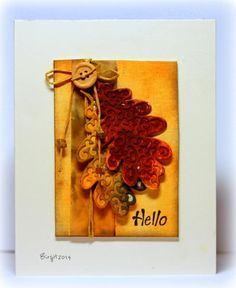Birgit Biggans fall card with one button and the lovely oak leaf die from Serendipity Stamps. Distress Inks.