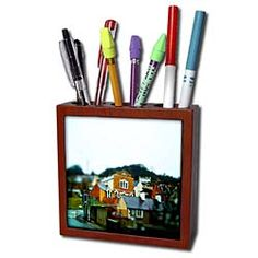 Tan Horse in a Bubble on Green Pasture with The Outside Layers Done in Vibrant Colors and Posturized Tile Pen Holder Buy Tile, Desk Clock, Buy Pen, Light Switch Covers, Pen Holders, Vibrant Colors, Bubbles, Miniatures, Ceramics