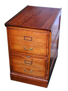 166 Two-drawer Oak File Cabinet With Raised Side Panels