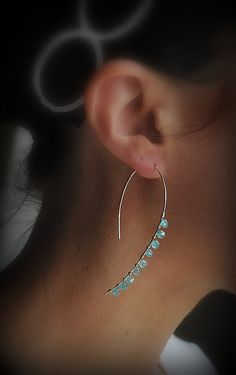 Abstract Sterling Silver Hoops with Blue Turquoise by Selicias,