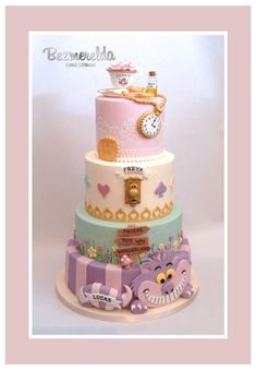 Alice In Wonderland Christening Cake - Cake by Bezmerelda Alice In Wonderland Tea Party Birthday, Alice In Wonderland Cakes, First Birthday Parties, First Birthdays, Cake Birthday, Birthday Ideas, Disney Cakes, Baby Shower Cakes, Themed Cakes