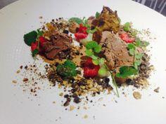 Glace chocolat, framboise, chips et crème d'héliantis, terre de cacao